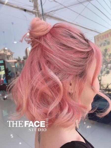 Thuốc nhuộm tóc màu Hồng khói + Tặng trợ nhuộm, gang tay cao cấp