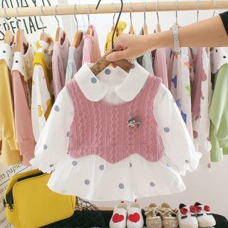 Bộ áo đan len + đầm sơ mi công chúa tay dài họa tiết chấm bi KTtrade dành cho bé gái đầm chất liệu cotton thoáng mát phong cách giản dị dễ thương kích thước cho bé từ 6-30 tháng - INTL