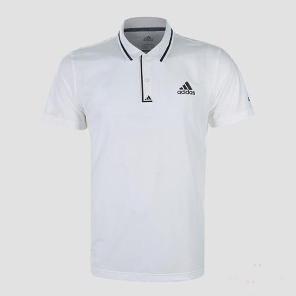 Áo thun nam Adidas viền sọc cổ bẻ màu trắng sang trọng AT570