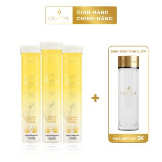 Combo 3 hộp viên sủi giảm cân Crystal Shining & Slim - hỗ trợ giảm cân và trắng da, kèm bình thủy tinh 2 lớp thumbnail