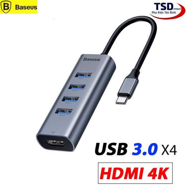 Bảng giá Hub Chuyển Type C to USB 3.0 và HDMI Baseus Enjoy Series (Type C to USB 3.0 x4 Ports + HDMI 4K, 5 in 1 intelligent HUB Adapter ) Phong Vũ