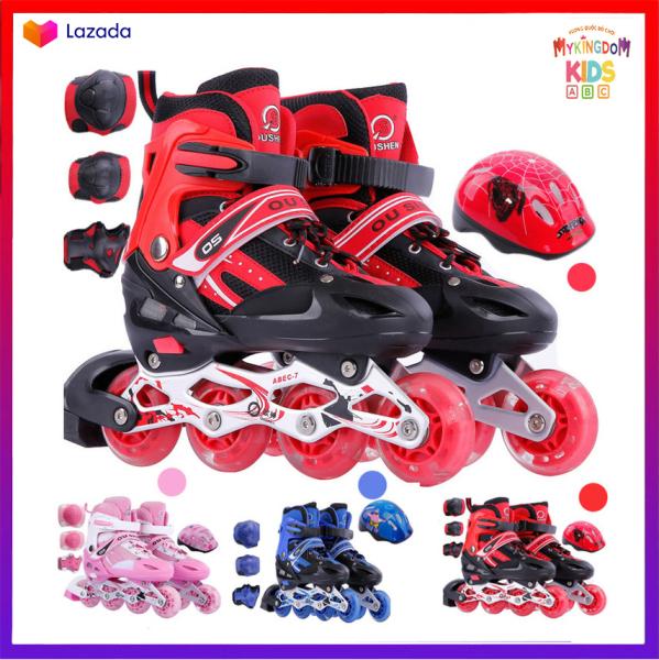 Mua Giày patin trẻ em tặng kèm Mũ và  bảo hộ chân tay, bánh xe phát sáng đi vừa với bé trai và gái từ 3-14 tuổi, có 3 màu Đỏ, Hồng, Xanh