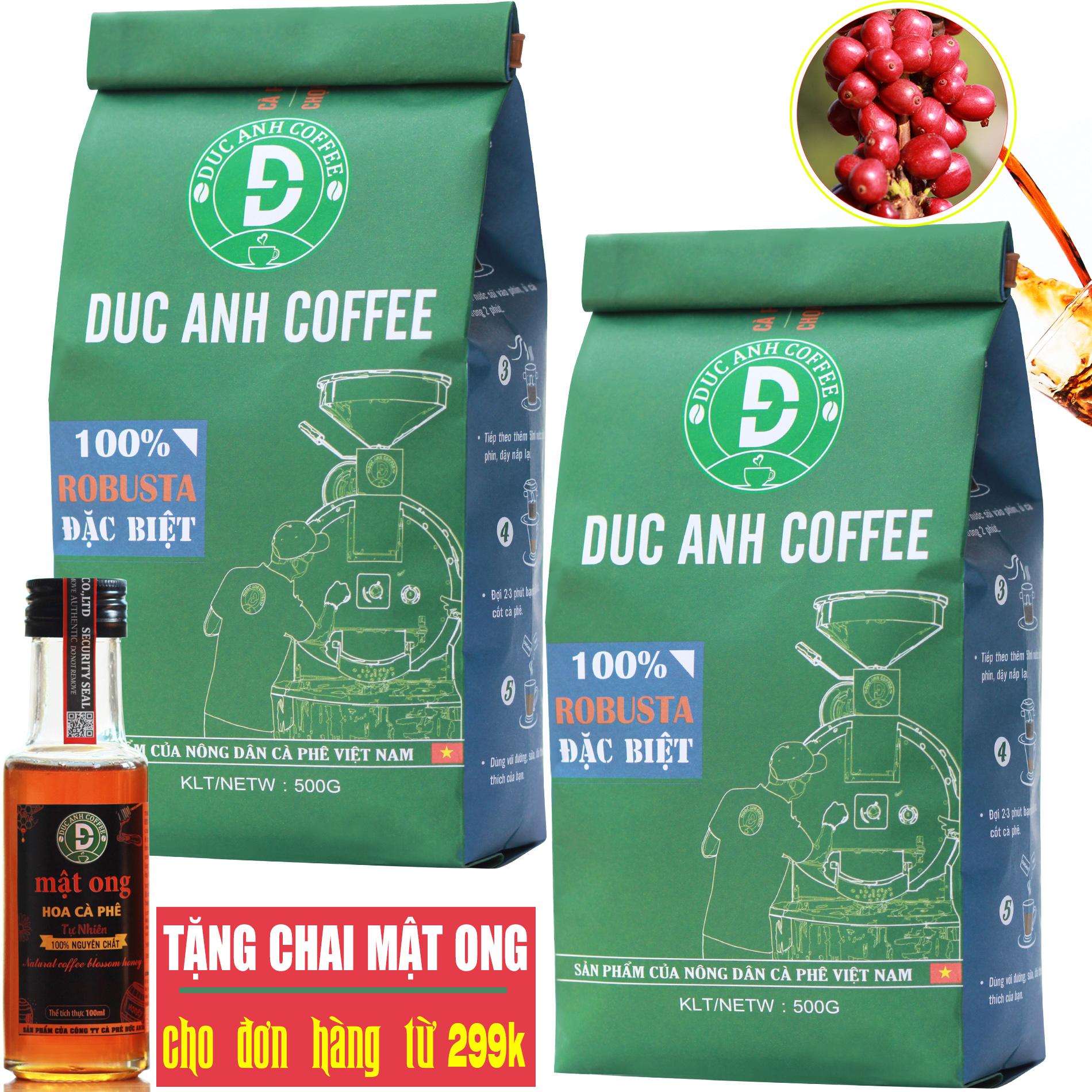 1kg Cà Phê Rang Xay Đặc Biệt DUC ANH COFFEE Rang Mộc Pha Phin - 100% Robusta Thượng Hạng - Chọn Trái Chín - Sản Phẩm Cà Phê Rang Xay Nguyên Chất Bán Chạy Top 1 - Túi Xanh - Tặng Mật Ong Nguyên Chất Cho đơn Từ 299k Siêu Giảm Giá