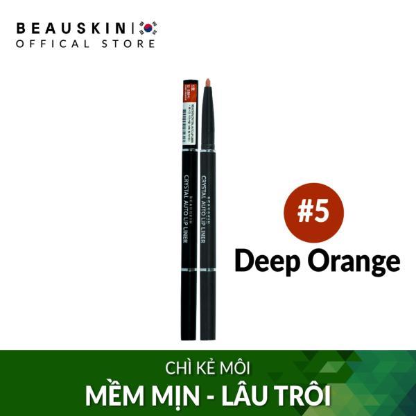 Chì vặn kẻ môi 2 đầu bền màu Beauskin Crystal Auto Lip Liner 5 Deep Orange - Hàn Quốc Chính Hãng giá rẻ