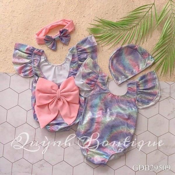 Giá bán Đồ bơi cho bé QUỲNH BOUTIQUE bơi nơ lưng kèm mũ cho bé(8-20kg)