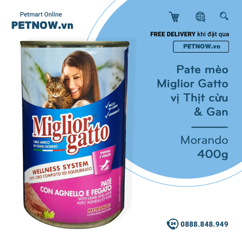 Pate mèo Miglior Gatto vị Thịt cừu & Gan 400g - Morando petnow
