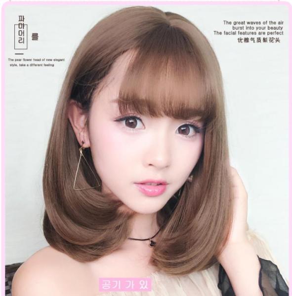 [TẶNG KÈM LƯỚI] Tóc giả nữ nguyên đầu sợi tơ Hàn Quốc CÓ DA ĐẦU - TG2378 ( NÂU VÀNG Y HÌNH )