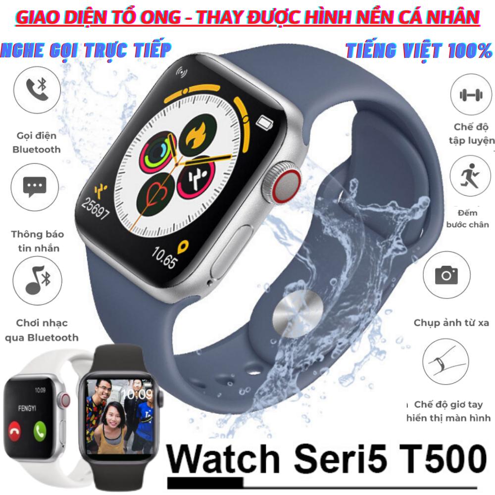 ĐỒNG HỒ THÔNG MINH T500 - SMART WATCH SERIES 5 T500 - Thay được hình nền tùy ý từ điện thoại -Thiết kế thời thượng,thông minh - Chống nước - Gọi điện nghe nhạc trực tiếp - Thông báo tin nhắn - Giao diện tổ ong 100% Tiếng Việt