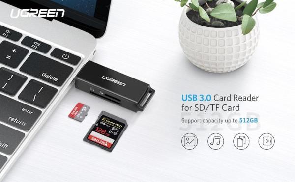 Card Reader SD, TF to USB 3.0 Ugreen 40750 cao cấp
