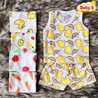 Bộ ba lỗ cotton sợi tre mát mẻ cho bé trai và bé gái 2-13kg chất thun co giãn đủ họa tiết sinh động Baby-S SBVN037 thumbnail