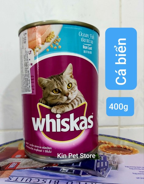 Pate WHISKAT dạng lon 400g cho mèo - Pate ngon cho mèo Lớn (vị Cá biển, Cá thu)