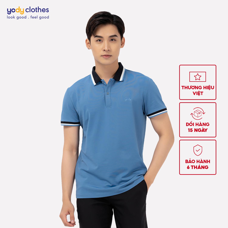 Áo phông Polo nam mắt chim phối bo 01 YODY, áo thun nam cao cấp ngắn tay có cổ chất liệu cotton thoáng mát, áo đôi màu sắc khác biệt APM3639