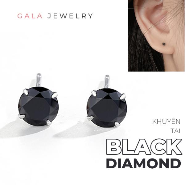 Bông tai bạc 925 Gala Black Diamond KT06D - khuyên kiểu dáng đơn giản dành cho nam nữ phong cách unisex
