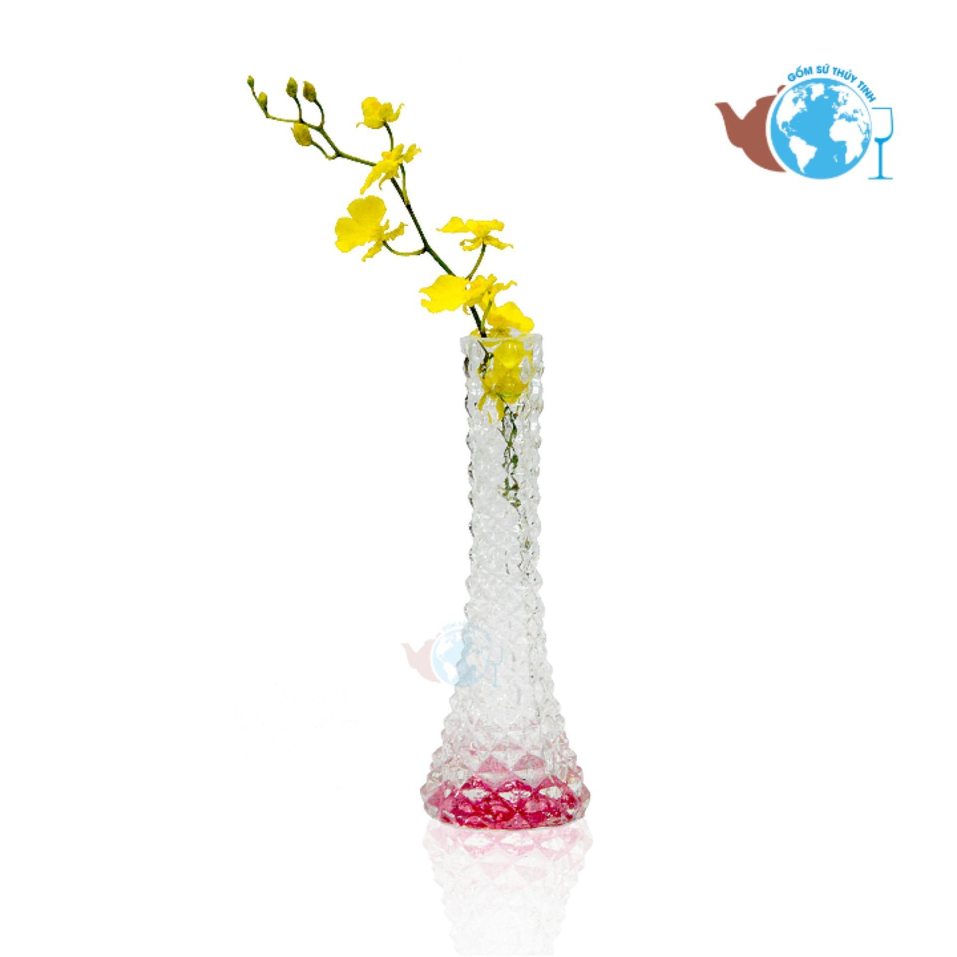 Bình bông lọ hoa thủy tinh 1 cành thanh xuân tháp hồng TXTH