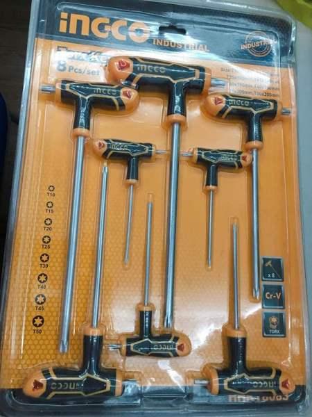 T10-T50 Bộ 8 chìa lục giác tay cầm chữ T đầu hoa thị INGCO HHKT8083