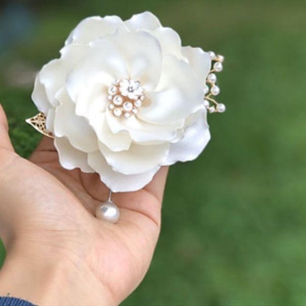 Hoa cài áo handmade bông hoa nhài lụa gấm mềm mịn