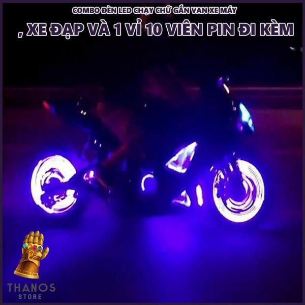 Combo Đèn LED chạy chữ gắn van xe máy, xe đạp và 1 vỉ 10 viên Pin đi kèm - Thanos Store