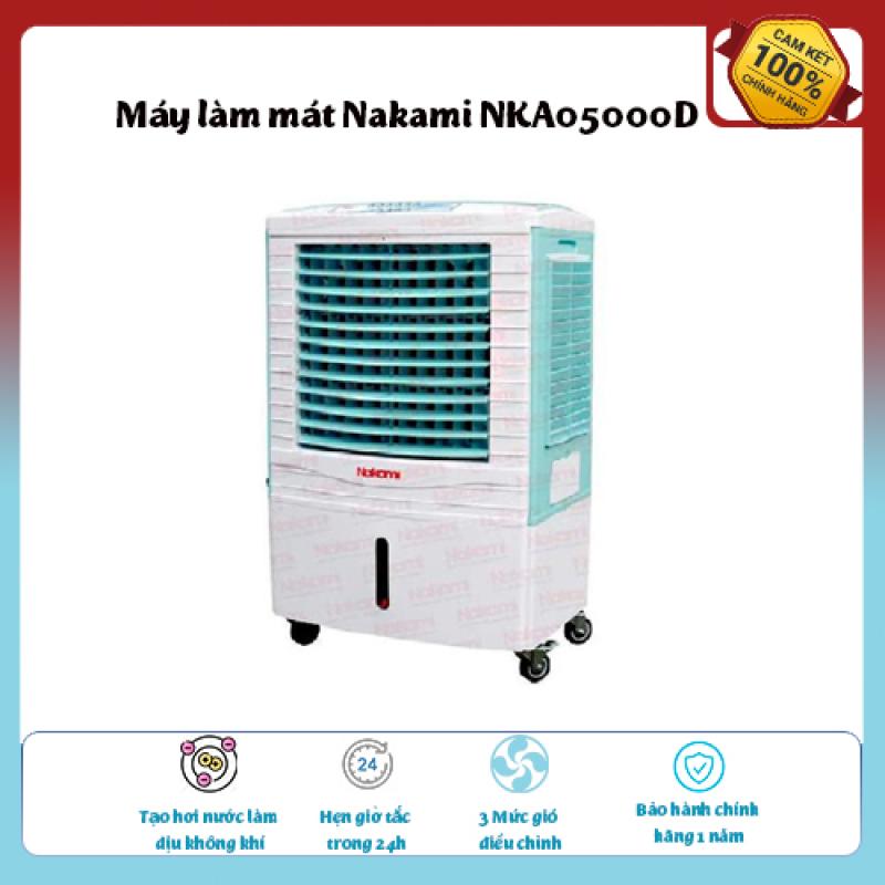 Máy làm mát Nakami NKA05000D Loại quạt: Quạt điều hòa ,diện tích làm mát 30 – 40 m2., Tạo hơi nước làm dịu không khí,Tốc độ gió: 3 mức