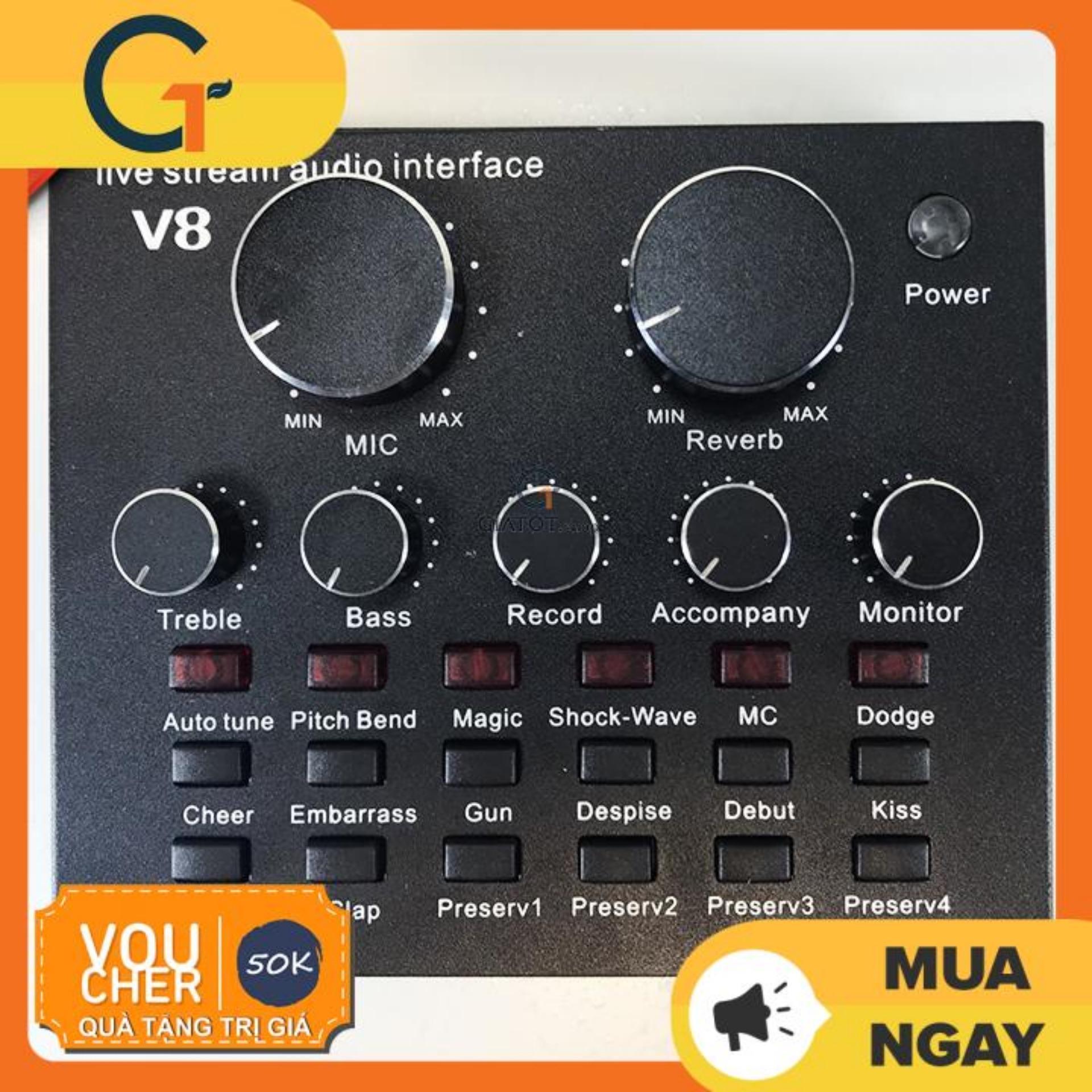 Sound Card V8 Có Auto Tone Dành Cho Micro Thu âm Giá Tốt Nhất Thị Trường