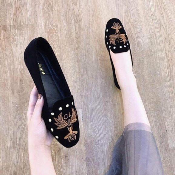 giày búp bê nữ đế bệt thêu ong  cực êm chân, giày bệt nhung mịn họa tiết ong vàng cực đẹp giá rẻ
