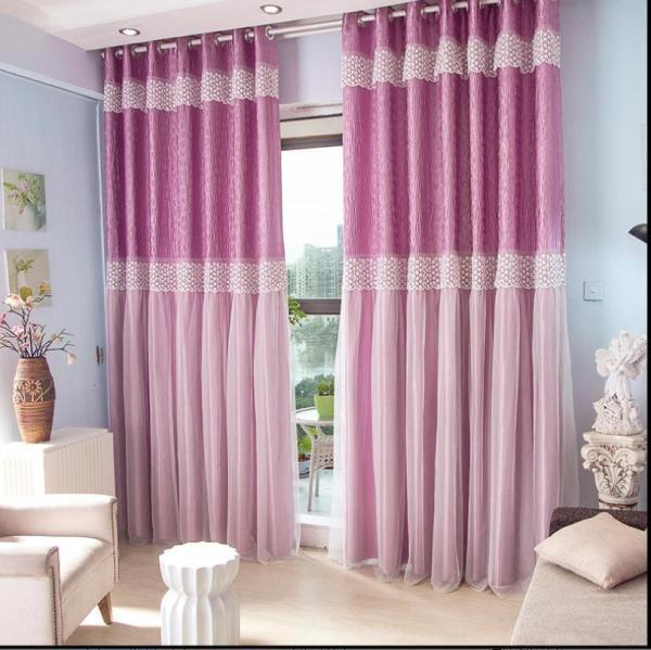 Rèm vải dày che nắng tốt cách nhiệt 2 lớp màu tím 1m x 2.7m cao