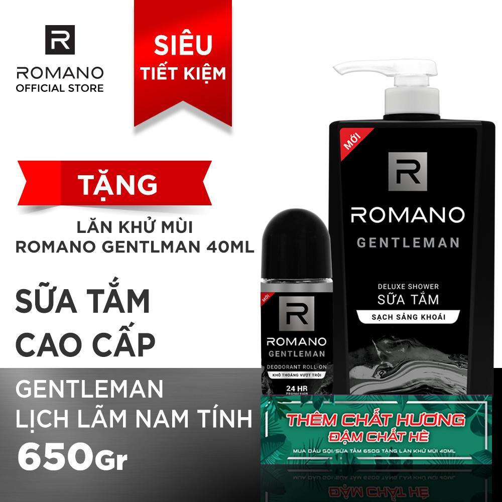[Tặng Lăn khử mùi Romano Gentleman 40ml] Sữa tắm Romano Gentleman 650g nhập khẩu
