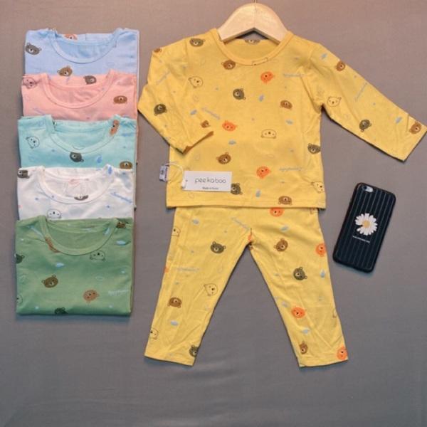 Giá bán Bộ Dài Tay Minky Mom Thun Lạnh In Gấu Mềm Mịn Mát Cho Bé Trai Bé Gái Từ 5-18Kg Loại 1 Bao Đẹp