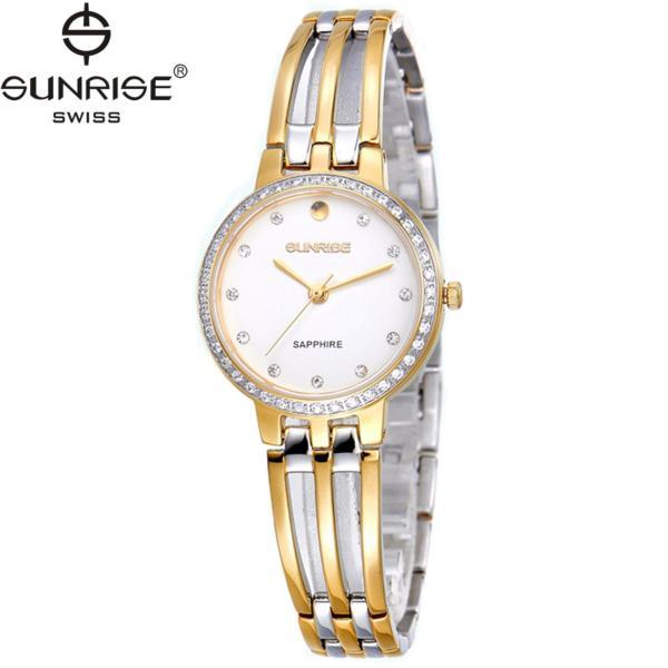 Đồng hồ nữ dây kim loại mặt kính sapphire chống xước Sunrise SL728DLSK