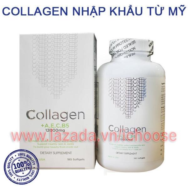 Collagen +AEC B5 12000MG USA (Hộp 180 viên) - Viên uống đẹp da, ngăn ngừa lão hóa giá rẻ