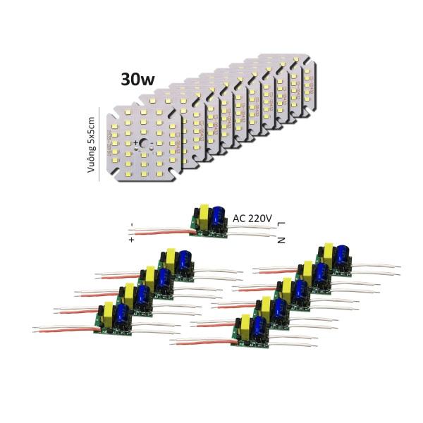 Bảng giá 10 Bảng bo vỉ mạch Led 30w 30 mắt chip Led 2835 siêu sáng + nguồn driver AC220V MLC-30x