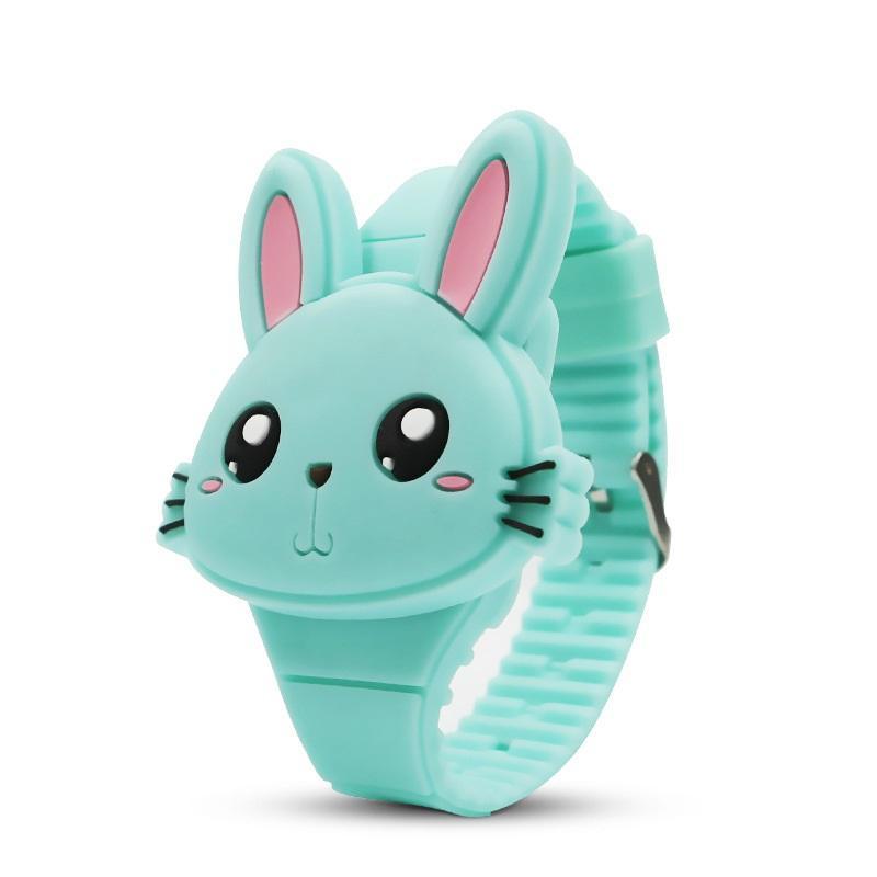 Đồng hồ thời trang trẻ em dây cao su cao cấp mặt thỏ xinh sắc màu OEM PKHRTE012 bán chạy