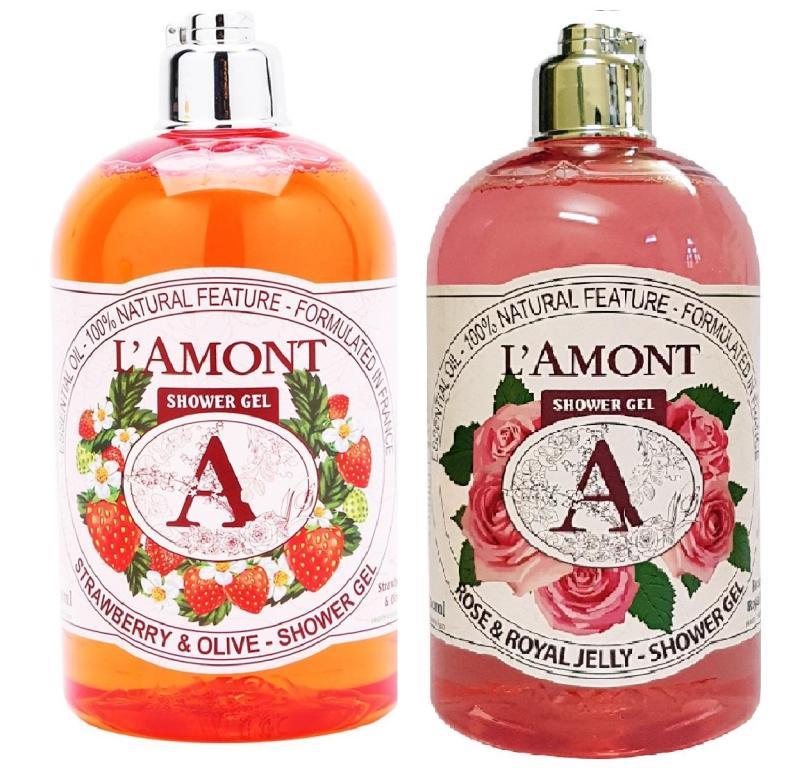 Combo Sữa Tắm Strawberry (Dâu tây) 500ml & Sữa tắm Rose (Hòa hồng) 500ml - Nhãn hiệu Lamont En Provence - Hãng Phân phối chính thức