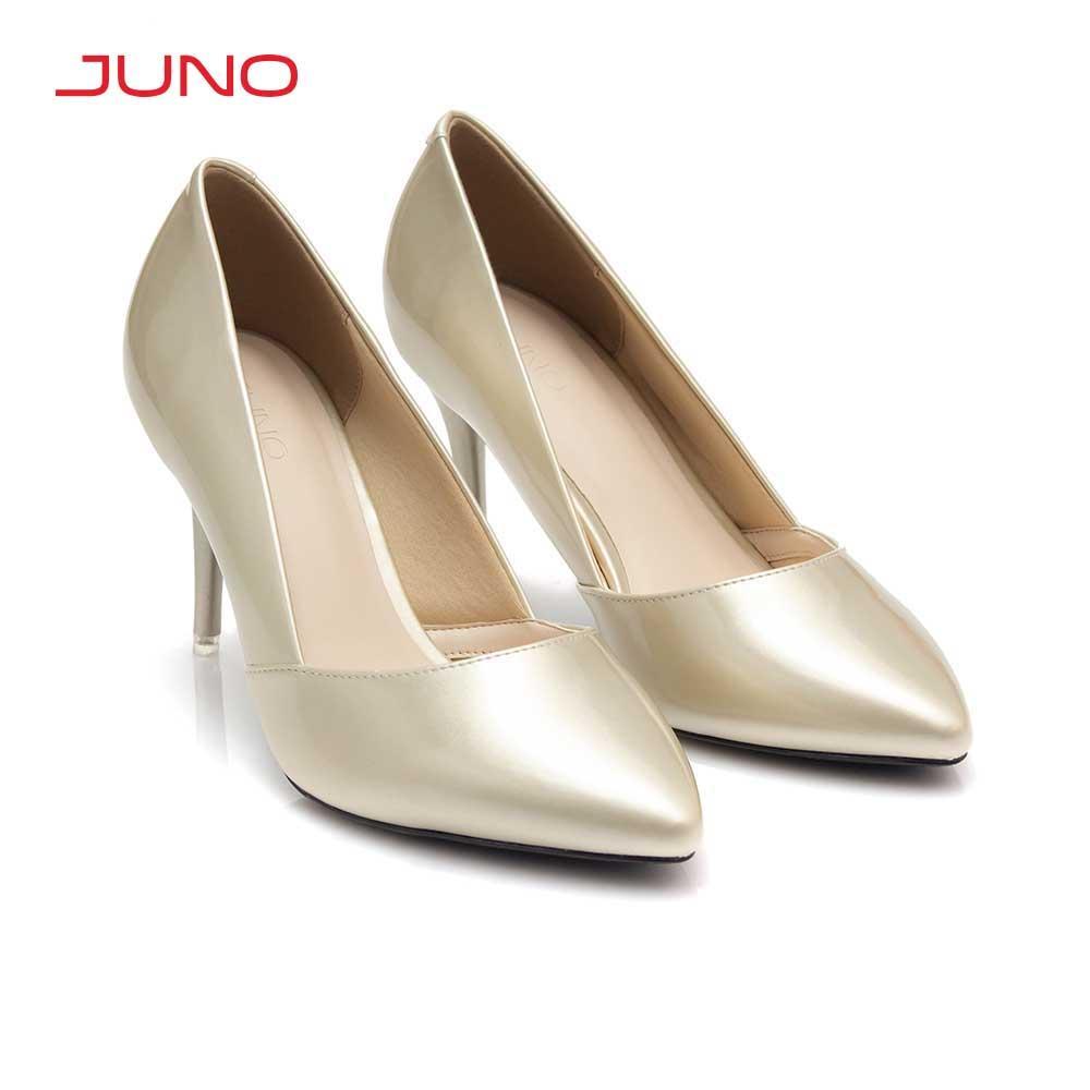 Giày cao gót mũi nhọn da bóng Juno CG09102