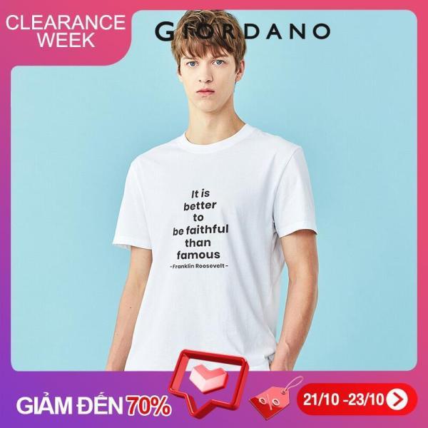 Áo thun nam tay ngắn in chữ phong cách trẻ trung 100% cotton mềm mịn Giordano 01090215