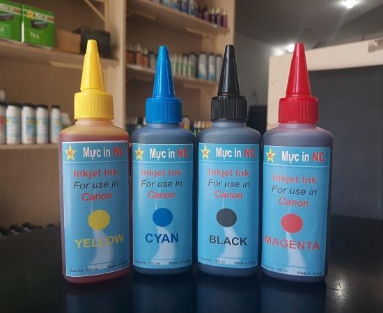 Giá Bộ 4 chai Mực cho máy in phun Canon màu chuẩn, bảo vệ đầu phun (Mực nước nạp, bơm, đổ cho máy in Inkjet Ink Canon)
