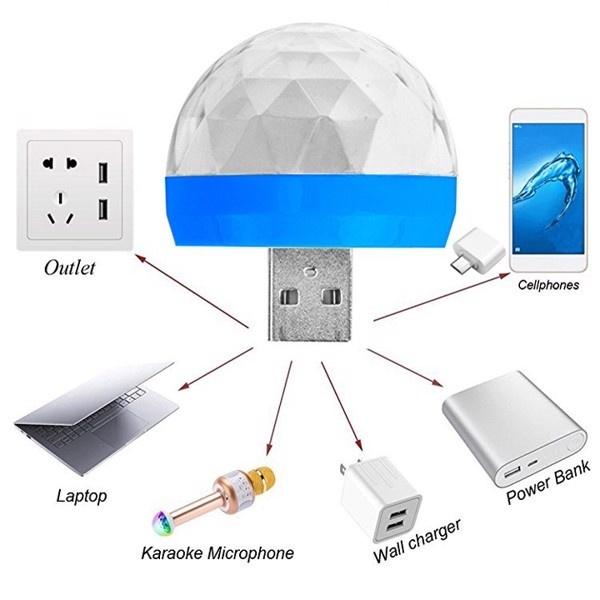 Đèn led vũ trường mini cảm ứng chớp nháy theo nhạc gắng USB cốc sạc