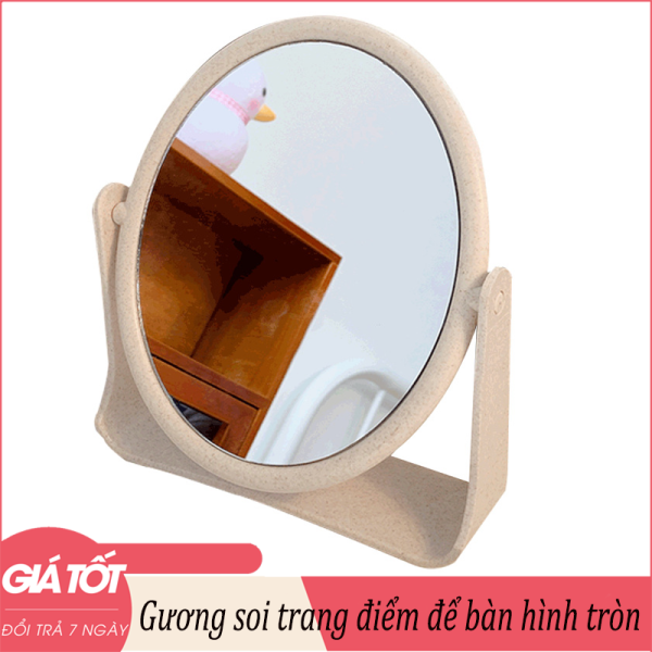 Gương soi trang điểm để bàn hình chữ nhật-hình tròn 18x21cm - Gương để bàn, Gương soi, Gương gấp để bàn, gương mini, Gương để bàn, gương cu te, gương trang điểm dễ thương