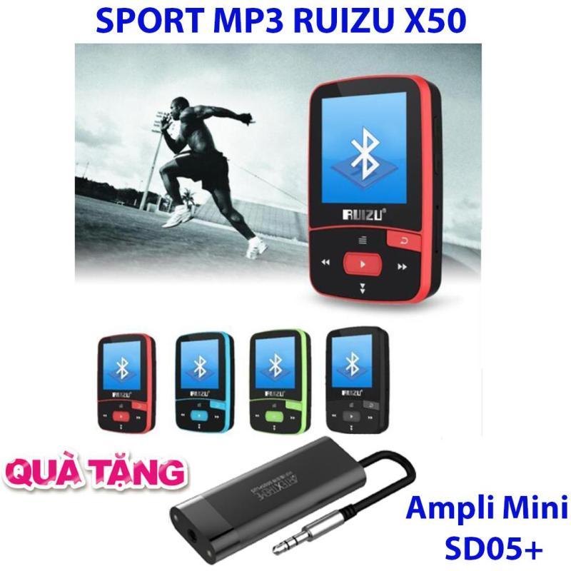 Máy nghe nhạc thể thao MP3/MP4 bluetooth  Ruizu X50 - Mini Sport Mp3 + Ampli Mini hỗ trợ giải mã âm thanh chất lượng cao SD05 Plus
