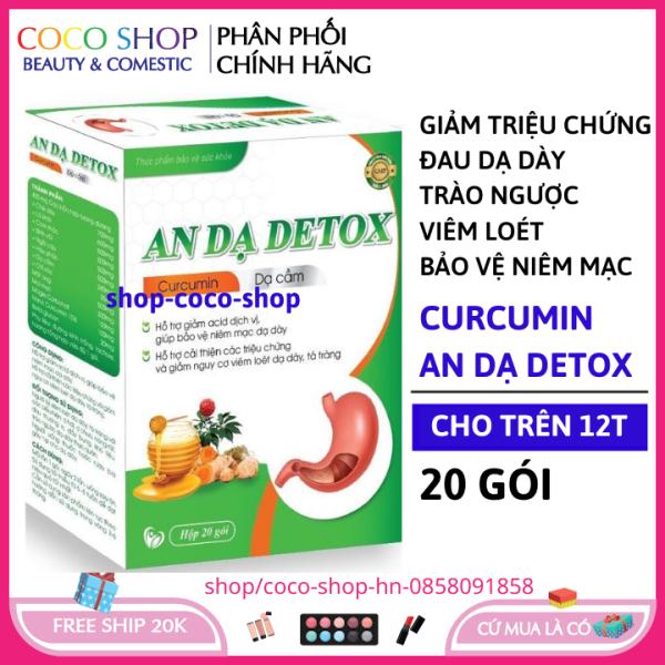 Thực phẩm hỗ trợ dạ dày AN Dạ detox - Giảm các triệu chứng do viêm loét dạ dày, tá tràng Hộp 20 gói chuẩn GMP HSD 2024 cocoshop hn (123)