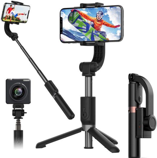 (XẢ HÀNG) Gậy Chụp Ảnh Tự Sướng,Gậy Selfie Chống Rung Điện Tử Gimbal L08 Bluetooth, Chân Đỡ Tự Đứng, Kéo Dài Tới 86cm, Giá Đỡ Ba Chân Chắc Chắn, Điều Khiển Chụp Từ Xa, Gậy Chụp Hình Quay Video Chống Rung Cao Cấp.