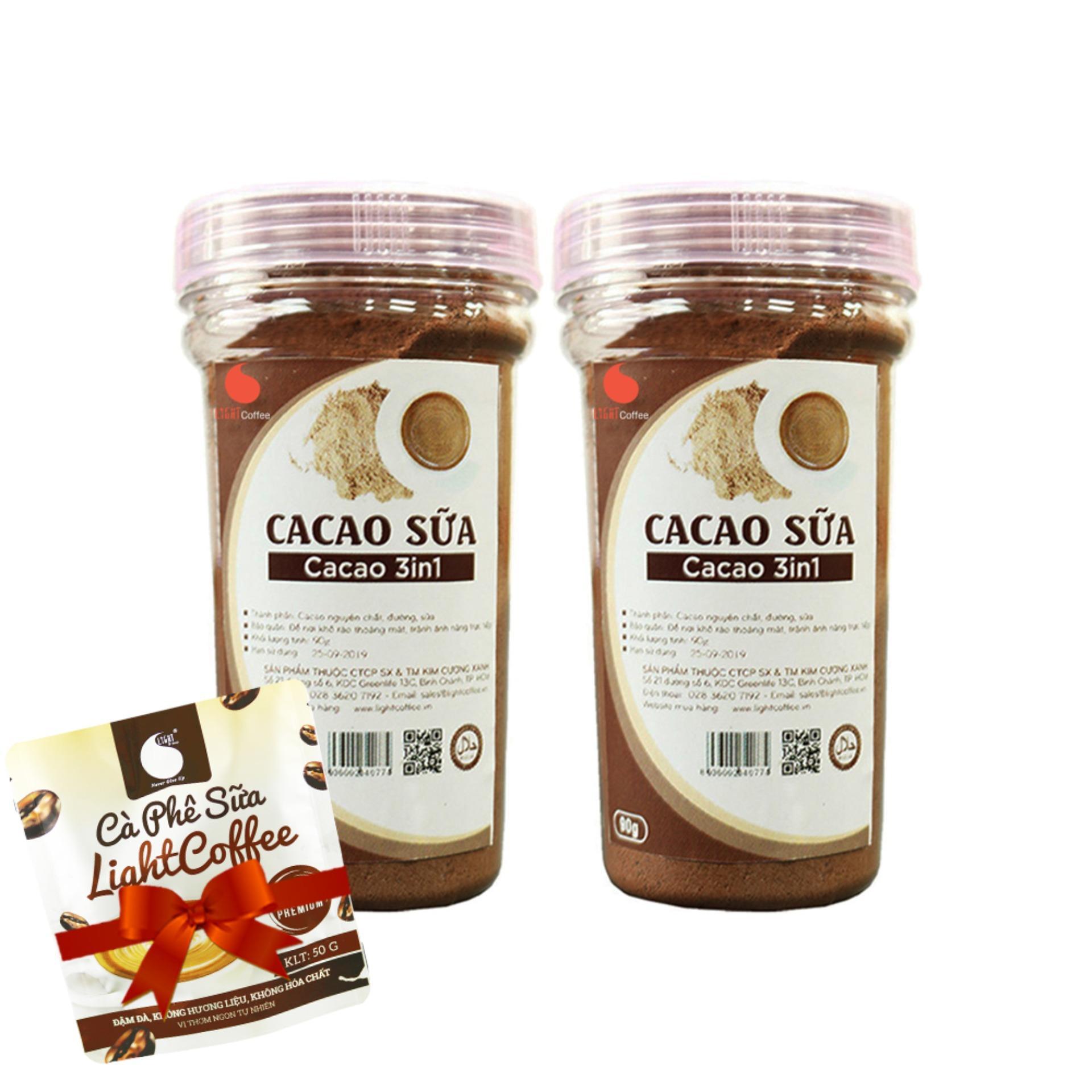 Combo 2 HŨ bột cacao sữa thơm ngon, Light Cacao , không hương liệu , không chất độn - 90g/hũ Nhật Bản