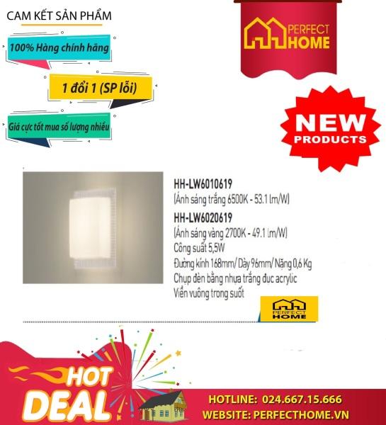 Đèn Treo Tường Panasonic Led Vuông Viền Trong Ánh Sáng Vàng Hh-Lw6020619, Viền Trắng Ánh Sáng Trắng Hh-Lw6010719