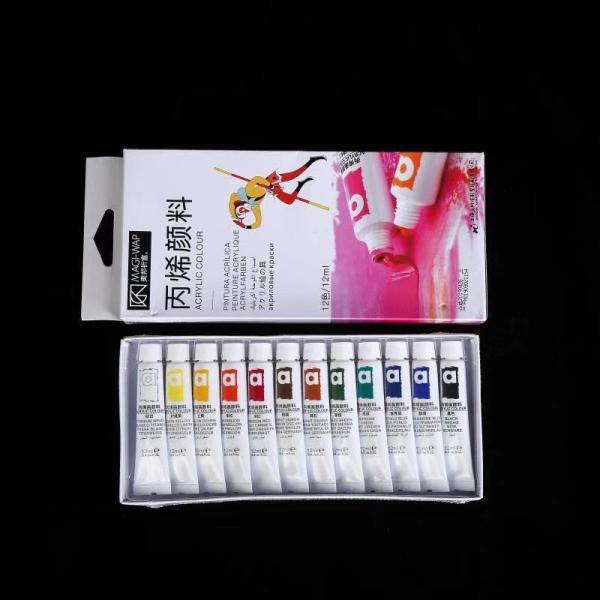 Sét bột màu vẽ cọ bản 12 màu (tuýp 12ml) chuyên dụng dùng chăm sóc trang trí móng làm nail nailart shop giá rẻ