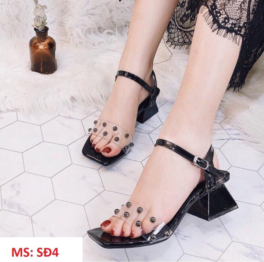 Giày sandal cao gót đế vuông 5 phân quai trong đính hạt lên chân sang chảnh PinkShopGiayDep