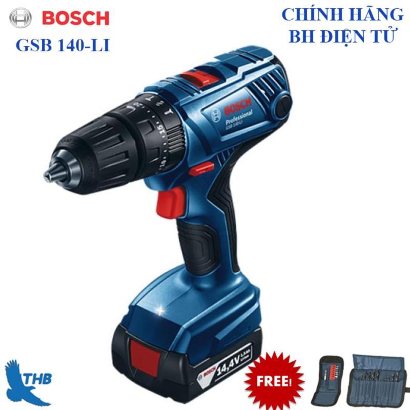 Máy khoan vặn vít dùng Pin Bosch GSB 140-LI + Phụ kiện