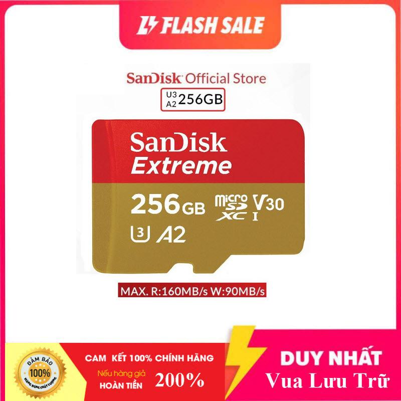 [Flash Sales] Thẻ Nhớ MicroSDXC SanDisk Extreme 256GB V30 U3 4K A2 R160MB/s W90MB/s - No Adapter (Vàng)