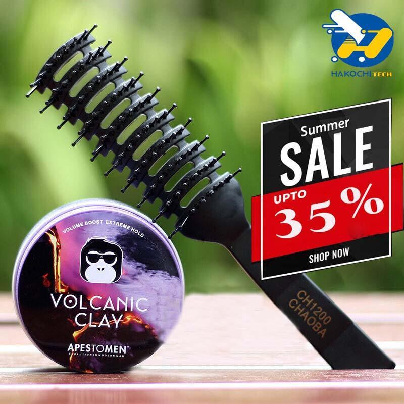 [BIGSALE 35%] Sáp vuốt tóc Apestomen Volcanic Clay Ver 3 Nắp nhôm - sáp vuốt tóc, sáp vuốt tóc nam, gôm sáp vuốt tóc + Tặng 1 lược Chaoba tạo phồng - [APESTOMEN VOLCANIC]