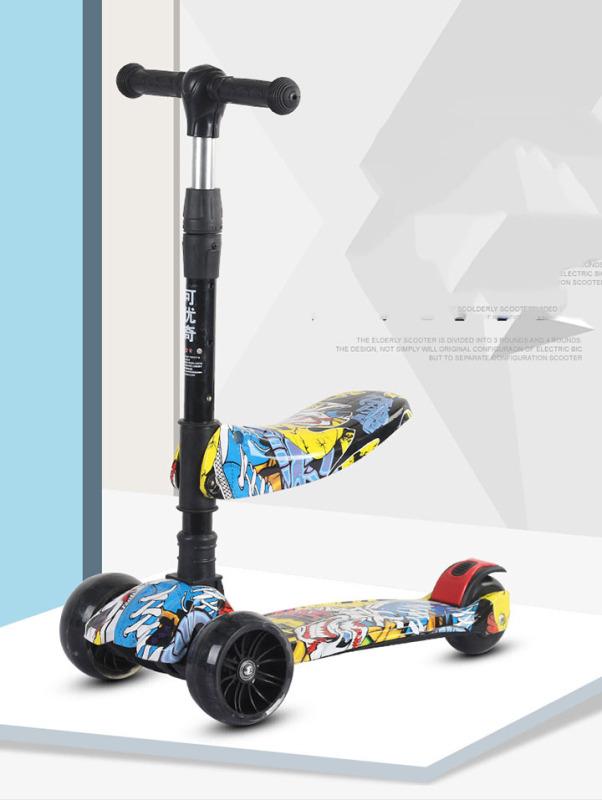 Mua Xe Trượt Scooter Trẻ Em 3 Bánh Cán Dài Điều Chỉnh Chiều Cao, Họa Tiết Bắt Mắt Phù Hợp Cho Bé Từ 2 Đến 6 Tuổi