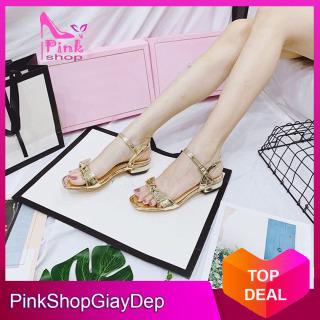 (Miễn ship) Giày sandal nữ PinkShopGiayDep kiểu dáng thắt nơ lên chân sang trọng - mã TN thumbnail