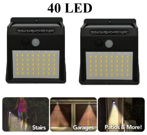 Bộ 2 Đèn led năng lượng mặt trời 40 led siêu sáng chống nước (Đen)